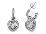 Zoe R™ 925 Sterling Silver Micro Pave Hand Set Cubic Zirconia (CZ) One Row Small Hoop Earrings and Heart Shape
