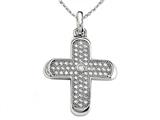 Zoe R™ 925 Sterling Silver Micro Pave Hand Set Cubic Zirconia (CZ) Medium Cross Pendant On 18