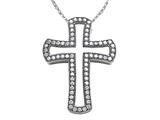 Zoe R Sterling Silver Micro Pave Hand Set Cubic Zirconia (CZ) Medium Cross Pendant