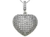 Zoe R 3D Sterling Silver Micro Pave Hand Set Cubic Zirconia (CZ) Heart Pendant