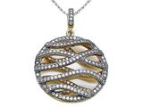 Zoe R 3D Sterling Silver Micro Pave Hand Set Cubic Zirconia (CZ) Pendant with
