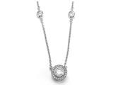 Zoe R™ 925 Sterling Silver Micro Pave Hand Set Cubic Zirconia (CZ) 23 Inch Diamond By The Yard Necklace With R