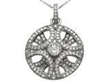 Zoe R 3D Sterling Silver Micro Pave Hand Set Cubic Zirconia (CZ) Pendant