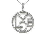Zoe R Sterling Silver Micro Pave Hand Set Cubic Zirconia (CZ) Love Pendant