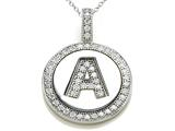 "Zoe R™ Sterling Silver Micro Pave Hand Set Cubic Zirconia (CZ) Letter ""A"" Initial Disc Pendant style: BM30633A"