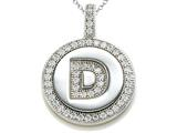 "Zoe R Sterling Silver Micro Pave Hand Set Cubic Zirconia (CZ) Letter ""D"" Initial Disc Pendant"