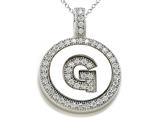 "Zoe R Sterling Silver Micro Pave Hand Set Cubic Zirconia (CZ) Letter ""G"" Initial Disc Pendant"