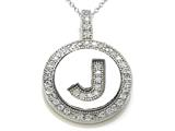 "Zoe R Sterling Silver Micro Pave Hand Set Cubic Zirconia (CZ) Letter ""J"" Initial Disc Pendant"