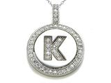 "Zoe R Sterling Silver Micro Pave Hand Set Cubic Zirconia (CZ) Letter ""K"" Initial Disc Pendant"