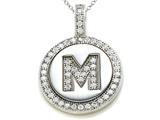 "Zoe R Sterling Silver Micro Pave Hand Set Cubic Zirconia (CZ) Letter ""M"" Initial Disc Pendant"