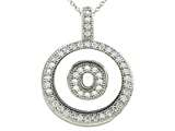 "Zoe R™ Sterling Silver Micro Pave Hand Set Cubic Zirconia (CZ) Letter ""O"" Initial Disc Pendant style: BM30633O"
