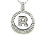 "Zoe R Sterling Silver Micro Pave Hand Set Cubic Zirconia (CZ) Letter ""R"" Initial Disc Pendant"