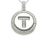 "Zoe R Sterling Silver Micro Pave Hand Set Cubic Zirconia (CZ) Letter ""T"" Initial Disc Pendant"