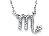 Zoe R Sterling Silver Micro Pave Hand Set Cubic Zirconia (CZ) Scorpio Zodiac Pendant On 18 Inch Adjustable Chain