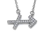 Zoe R Sterling Silver Micro Pave Hand Set Cubic Zirconia (CZ) Sagittarius Zodiac Pendant On 18 Inch Adjustable C