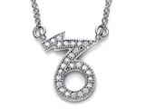 Zoe R Sterling Silver Micro Pave Hand Set Cubic Zirconia (CZ) Capricorn Zodiac Pendant On 18 Inch Adjustable Cha
