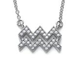 Zoe R™ Sterling Silver Micro Pave Hand Set Cubic Zirconia (CZ) Aquarius Zodiac Pendant On 18 Inch Adjustable Chai style: BM308201