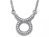 Zoe R™ Sterling Silver Micro Pave Hand Set Cubic Zirconia (CZ) Taurus Zodiac Pendant On 18 Inch Adjustable Chain style: BM308204