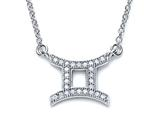 Zoe R Sterling Silver Micro Pave Hand Set Cubic Zirconia (CZ) Gemini Zodiac Pendant On 18 Inch Adjustable Chain