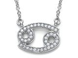 Zoe R™ Sterling Silver Micro Pave Hand Set Cubic Zirconia (CZ) Cancer Zodiac Pendant On 18 Inch Adjustable Chain