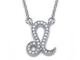 Zoe R™ Sterling Silver Micro Pave Hand Set Cubic Zirconia (CZ) Leo Zodiac Pendant On 18 Inch Adjustable Chain