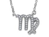 Zoe R™ Sterling Silver Micro Pave Hand Set Cubic Zirconia (CZ) Virgo Zodiac Pendant On 18 Inch Adjustable Chain