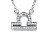 Zoe R™ Sterling Silver Micro Pave Hand Set Cubic Zirconia (CZ) Libra Zodiac Pendant On 18 Inch Adjustable Chain style: BM308209