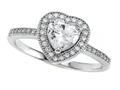 Zoe R 925 Sterling Silver Micro Pave Hand Set Cubic Zirconia (CZ) Heart Shape Center Engagement Ring