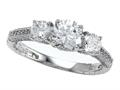 Zoe R™ 925 Sterling Silver Micro Pave Hand Set Cubic Zirconia (CZ) 3 Stone Engagement Ring