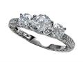 Zoe R™ Sterling Silver Micro Pave Hand Set Cubic Zirconia (CZ) 3 Stone Engagement Ring