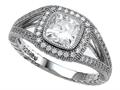 Zoe R™ 925 Sterling Silver Micro Pave Hand Set Cubic Zirconia (CZ) Halo Cushion Cut Engagement Ring