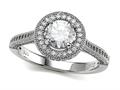 Zoe R™ 925 Sterling Silver Micro Pave Hand Set Cubic Zirconia (CZ) Round Engagement Ring