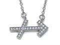 Zoe R™ Sterling Silver Micro Pave Hand Set Cubic Zirconia (CZ) Sagittarius Zodiac Pendant On 18 Inch Adjustable C
