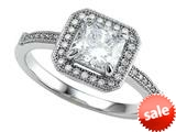 Zoe R™ 925 Sterling Silver Micro Pave Hand Set Cubic Zirconia (CZ) Princess Cut Center Engagement Ring