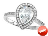 Zoe R™ 925 Sterling Silver Micro Pave Hand Set Cubic Zirconia (CZ) Pear Shape Engagement Ring style: BM10369