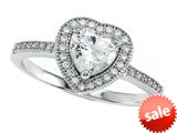 Zoe R™ 925 Sterling Silver Micro Pave Hand Set Cubic Zirconia (CZ) Heart Shape Center Engagement Ring