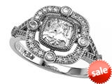 Zoe R™ 925 Sterling Silver Micro Pave Hand Set Cushion Cut Cubic Zirconia (CZ) Engagement Ring style: BM10460T