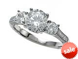 Zoe R™ Micro Pave Hand Set Cubic Zirconia (CZ) 3 Stone Engagement Ring with 7mm center.