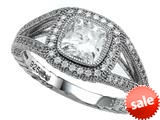 Zoe R™ 925 Sterling Silver Micro Pave Hand Set Cubic Zirconia (CZ) Cushion Cut Engagement Ring