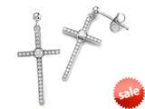 Zoe R™ 925 Sterling Silver Micro Pave Hand Set Cubic Zirconia (CZ) Medium Cross Earrings style: BM203447