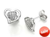 Zoe R™ 925 Sterling Silver Micro Pave Hand Set Cubic Zirconia (CZ) Heart Shape Earrings