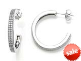 Zoe R™ 925 Sterling Silver Micro Pave Hand Set Cubic Zirconia (CZ) Two Row Medium Hoop Earrings