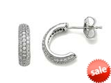 Zoe R™ 925 Sterling  Silver Micro Pave Hand Set Cubic Zirconia (CZ) Three Row Small Hoop Earrings