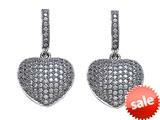Zoe R™ 3D Sterling Silver Micro Pave Hand Set Cubic Zirconia (CZ) Heart Earrings