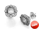 Zoe R™ 925 Sterling Silver Hand Set Cushion Cut Cubic Zirconia (CZ) Earrings style: BM20710