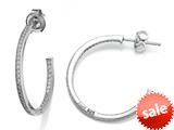 Zoe R™ 925 Sterling Silver Micro Pave Hand Set Cubic Zirconia (CZ) One Row Medium Hoop Earrings