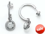 Zoe R™ 925 Sterling Silver Micro Pave Hand Set Cubic Zirconia (CZ) One Row Medium Hoop Earrings and Round Dan
