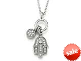 Zoe R™ 925 Strerling Silver Micro Pave Hand Set Cubic Zirconia (CZ) Hamsa Pendant On 22 Inch Adjustable Chain style: BM30196