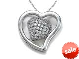 Zoe R™ 925 Sterling Silver Micro Pave Hand Set Cubic Zirconia (CZ) Heart Shape Pendant On 18 Inch Chain
