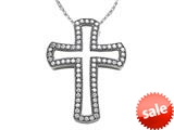 Zoe R™ Sterling Silver Micro Pave Hand Set Cubic Zirconia (CZ) Medium Cross Pendant